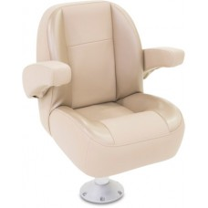 Pontoon Low Back Captain Seat With Arm Rest (Non-Reclining