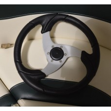 Pontoon Steering Wheel Black Leather